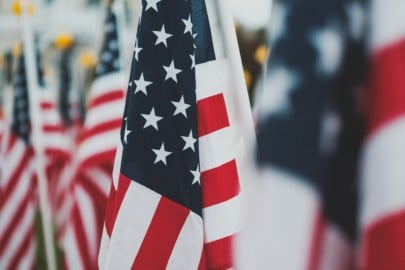 closeup photo of U.S.A. flag
