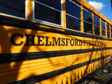 yellow Chelmsford Public School bus