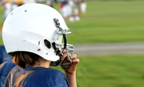 man wearing football helmet