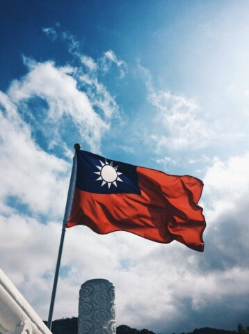 red and blue national flag