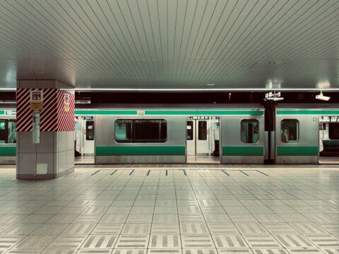 white red and green train in train station